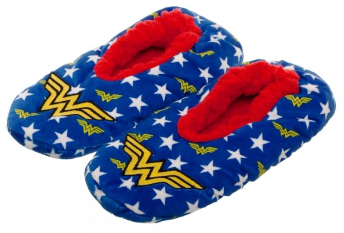 New Horizons Production DC Comics Wonder Woman Stars and Logo Plush Cozy Unisex Adult Slippers (Small/Medium)