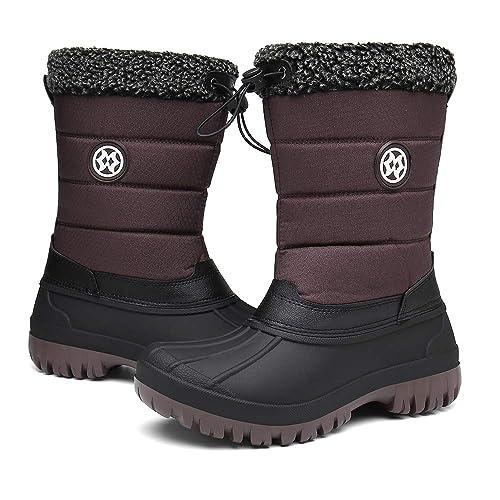 Winterstiefel Damen, Gummistiefel Damen Winter Wasserdicht Warm gefütterte Schneestiefel Trekkingschuhe Kunstpelz Futter Outdoor Stiefel Schuhe