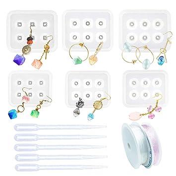 Woohome 6 Pz Molde Silicona Resina Diamante de Resina Talón con con Agujero, 5 Pz Goteros, 2 Roll String para Collar Pendiente Fabricación de Colgante ...