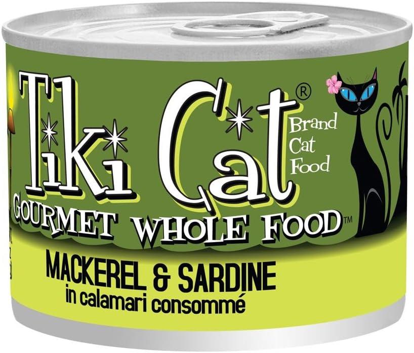 Tiki Cat Gourmet Whole Food 8-Pack Makaha Luau Mackerel And Sardine In Calamari Consomme Pet Food