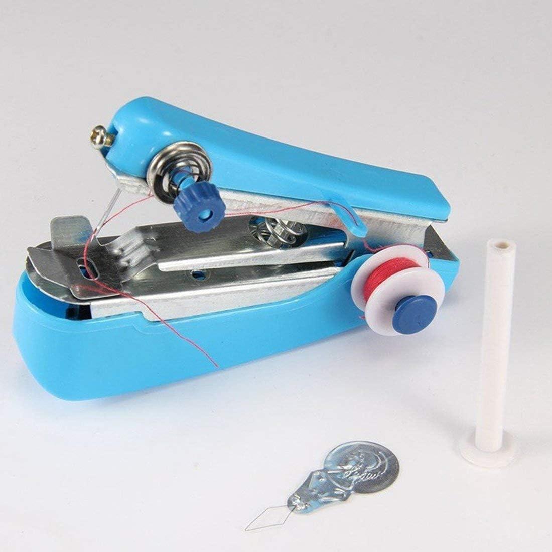 Mini máquina de coser portátil de mano Telas de ropa de mano Puntada Máquina de coser manual Viaje o hogar-Rojo