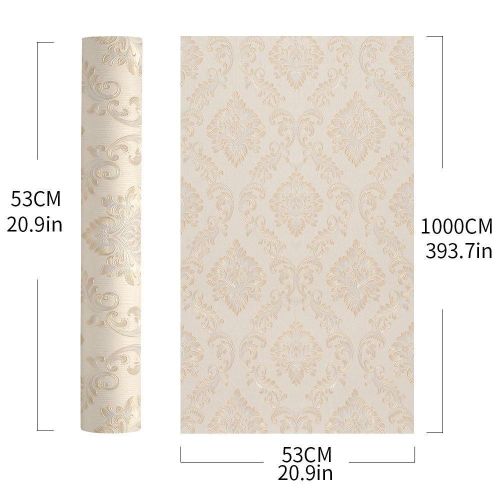 Wopeite European Vintage Luxury Damask Wallpaper Embossed Textured Paper Non-Woven Home Decor for Living Room Bedroom TV Backdrop by Wopeite (Image #7)