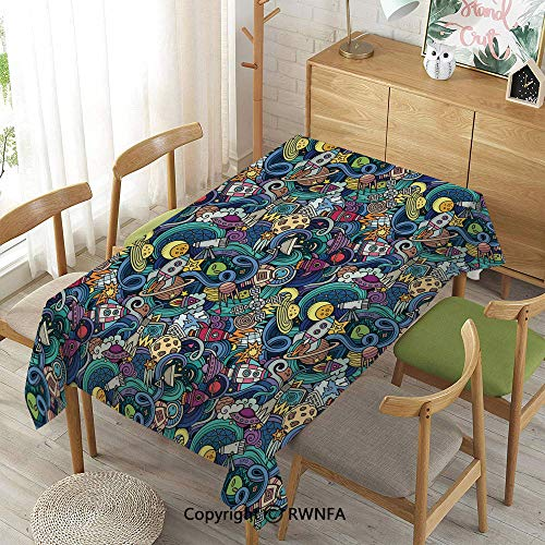 (Homenon Tablecloth for Dining Room for Rectangle Tables,Abstract Cartoon Science Fiction Themed Image with Swirl Waves Asteroids Telescope Decorative,Machine Washable,Multicolor,52