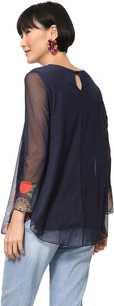 Shirt Long Sleeve Rachel Woman Blue Manches Longues Femme Desigual T