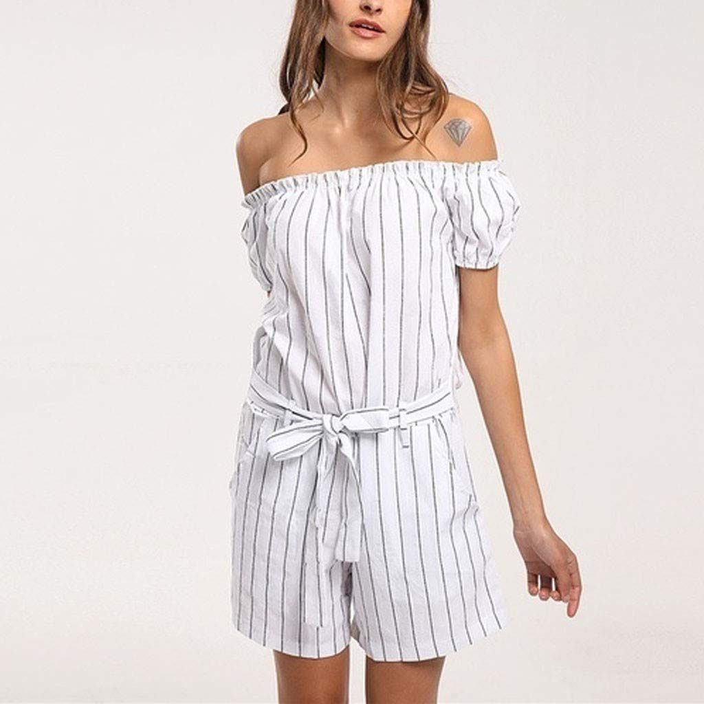 Huarll Womens Trendy Striped Print Off The Shoulder Tube Top Wide Leg Short Pants Loose Casual Jumpsuit with Belt