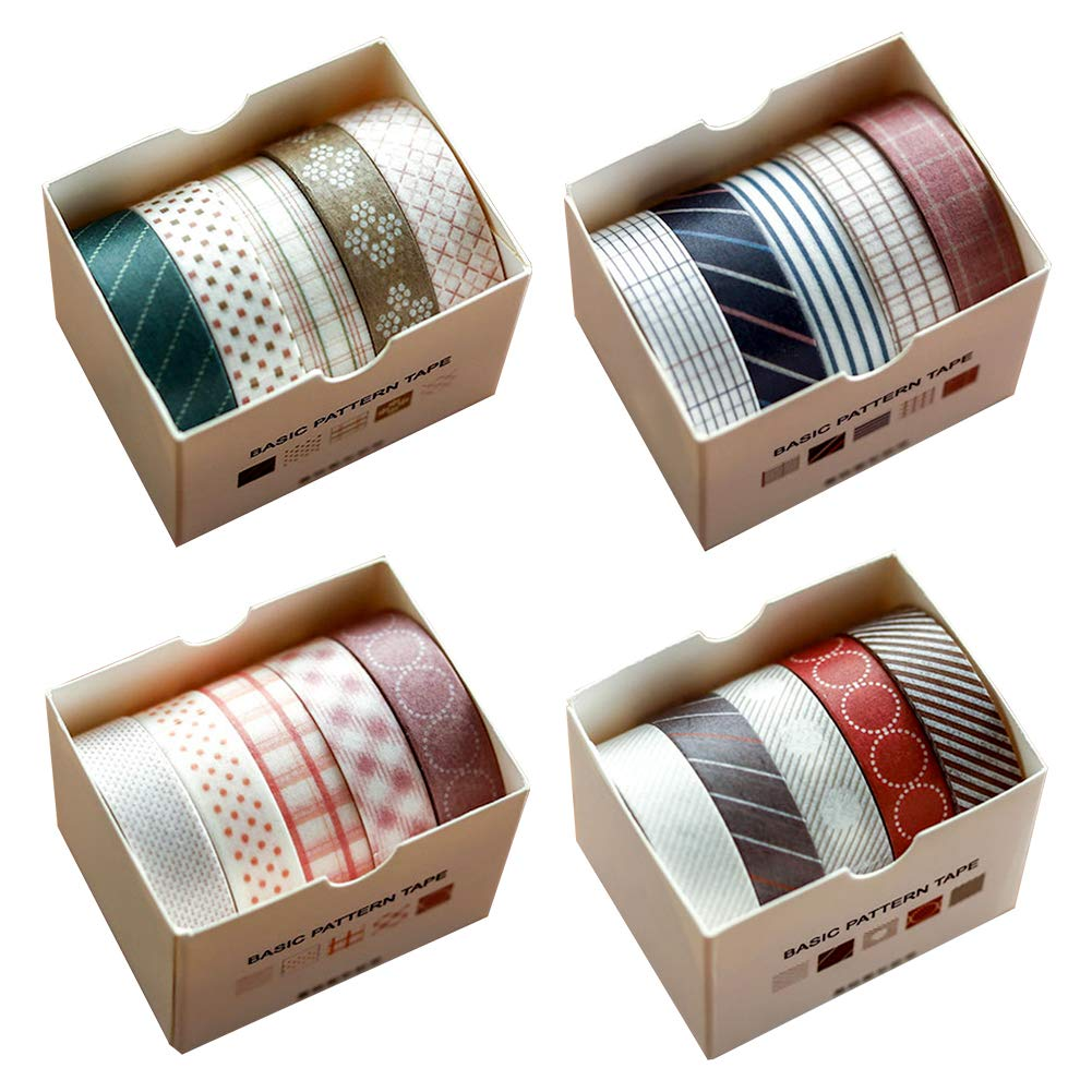 Washi Tape Rolls Set in Four Themes, 20pcs 10mm x 3 Meter Hand-Picked Decorative Craft Supply Tapes for Scrapbooking Gift-Wrapping DIY, 5 Roll/Each Theme, Four Theme, Four Tone (E)
