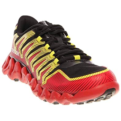ac5d082d7831fa REEBOK Boy s Grade School ZigTech Shark 2.0 Black Red Yellow Running Shoes