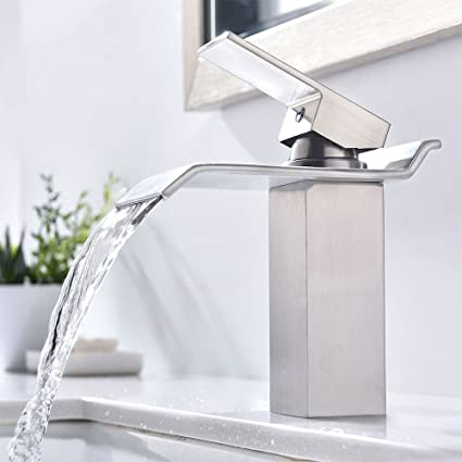 waterfall widespread awesome charming sink faucet contemporary faucets bathroom led sumerain brass for reviews tall