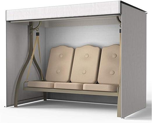 xinchengraoji Funda para silla de jardín al aire libre, cubierta para hamaca de 3 plazas, reforzada 190D Oxford impermeable, protección UV, a prueba de polvo, resistente al sol, para muebles, gris: Amazon.es: