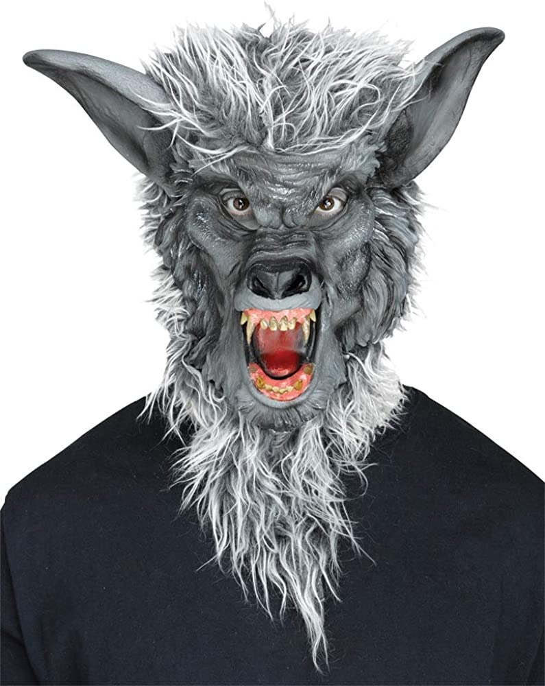 Smiffys Mens Prowler Wolf Mask with Hair On Display Card