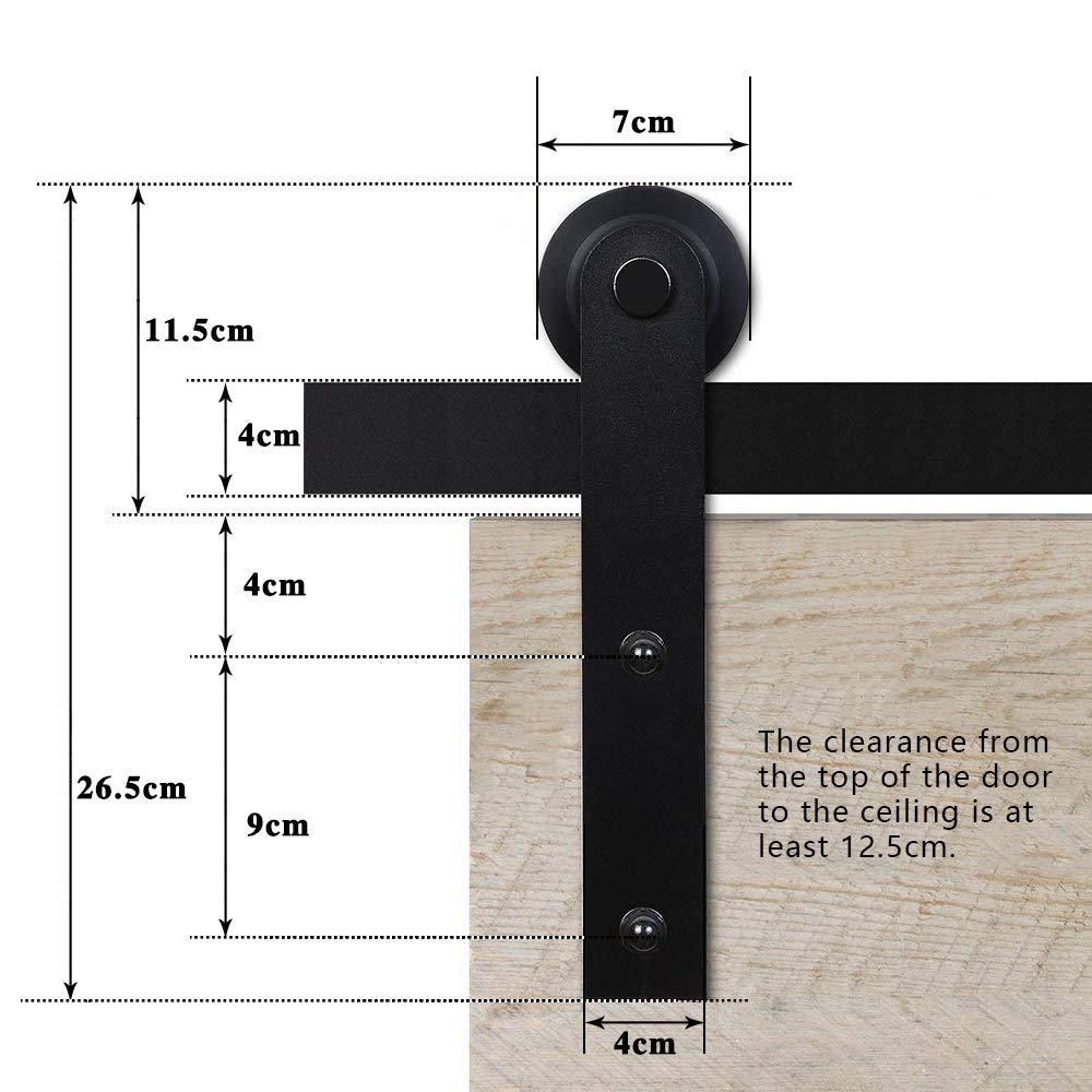 365cm//12FT Rail porte coulissante,Quincailleri Kit de Rail pour Porte Coulissante,double porte coulissante,Noir