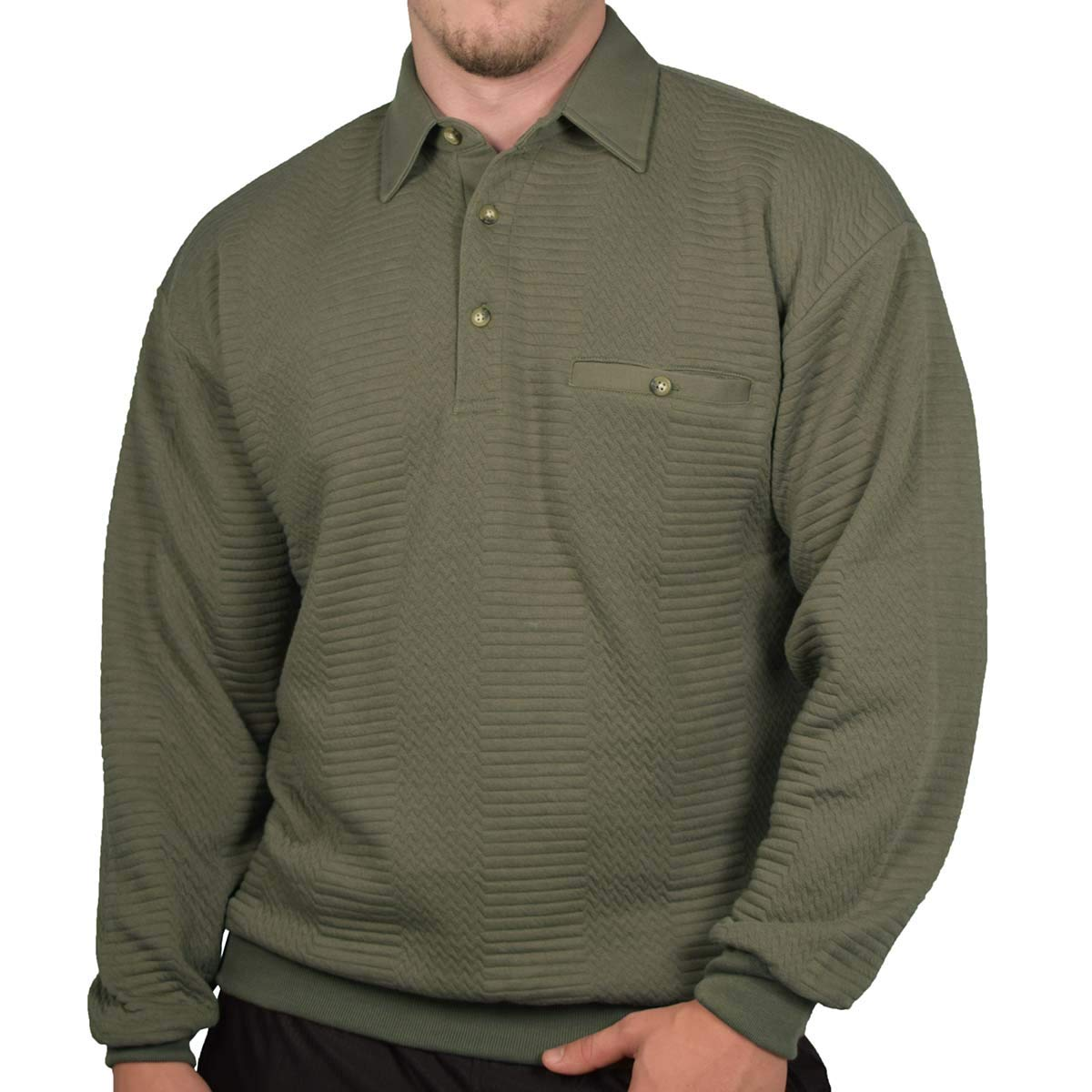 Palmland L//S Solid Textured Banded Bottom Shirt 6094-950 Big and Tall