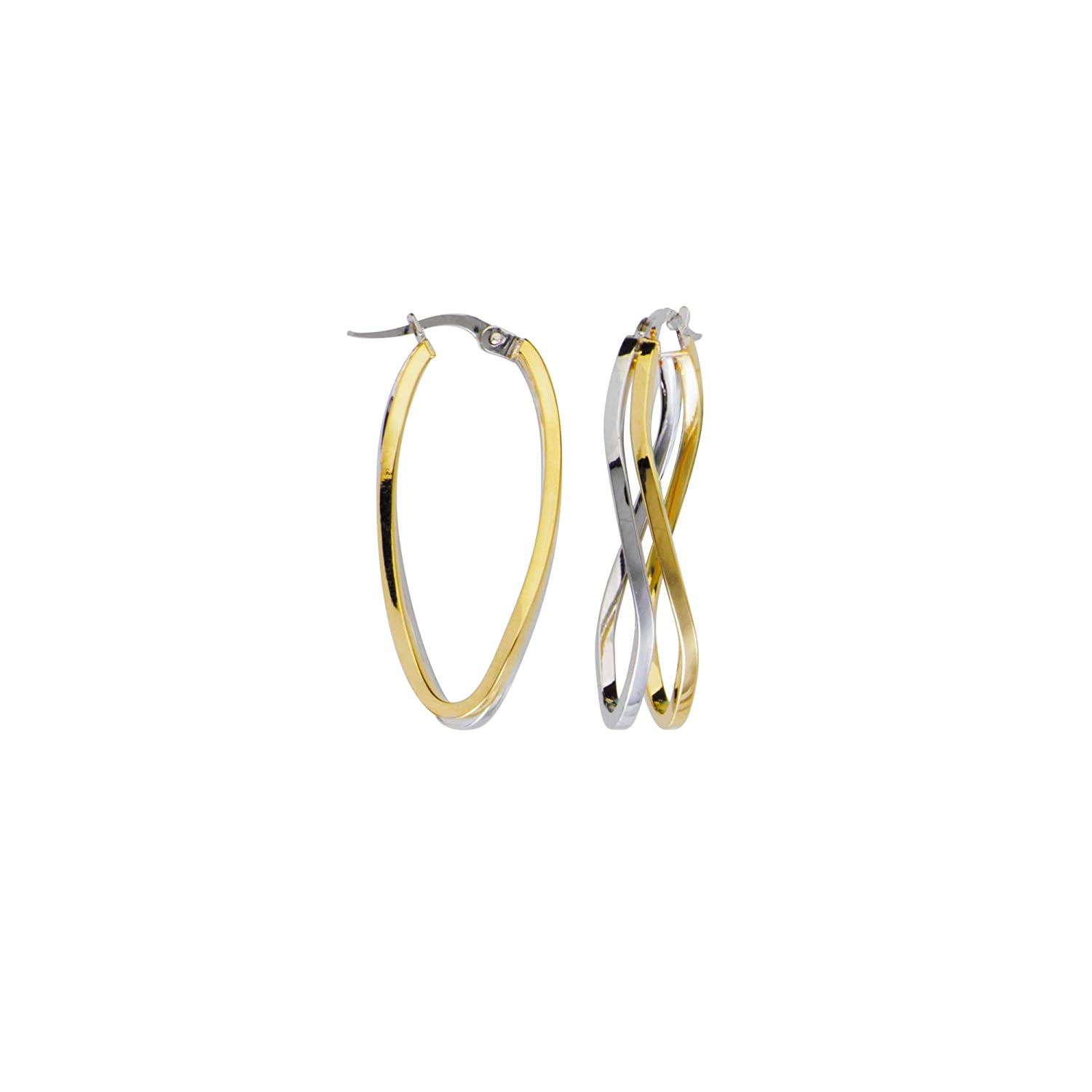 Earring Chest 10K White and Yellow Gold Double Wave Square Tube Hoop Earrings