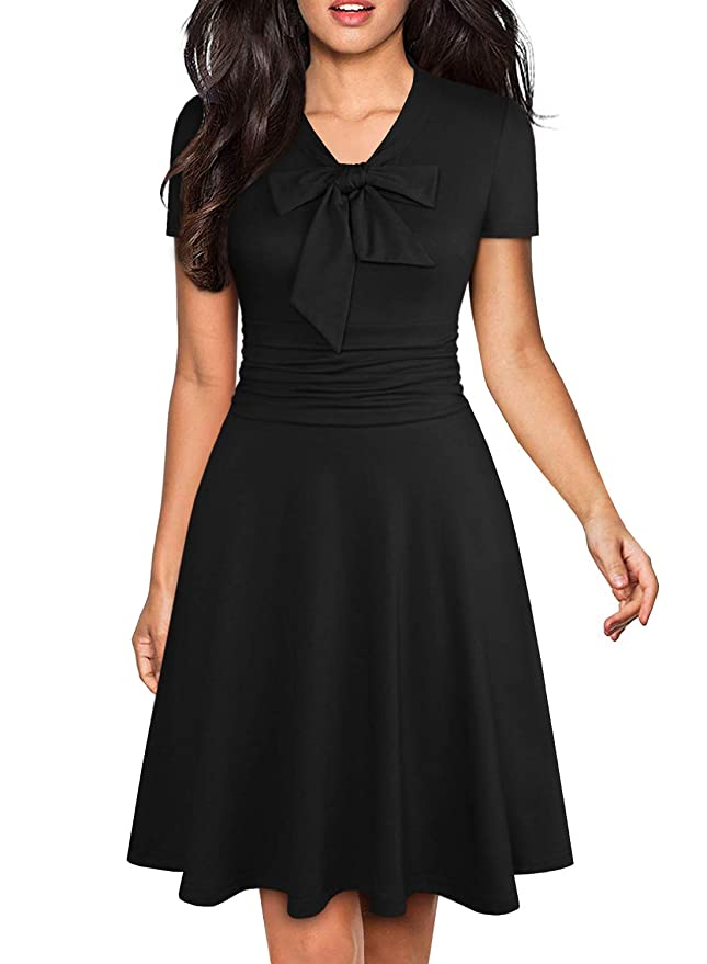 1940s Dress Styles YATHON Womens Elegant Bow Tie Swing Casual Party Dresses Vintage Ruched Stretchy A-line Skater Dress $28.98 AT vintagedancer.com