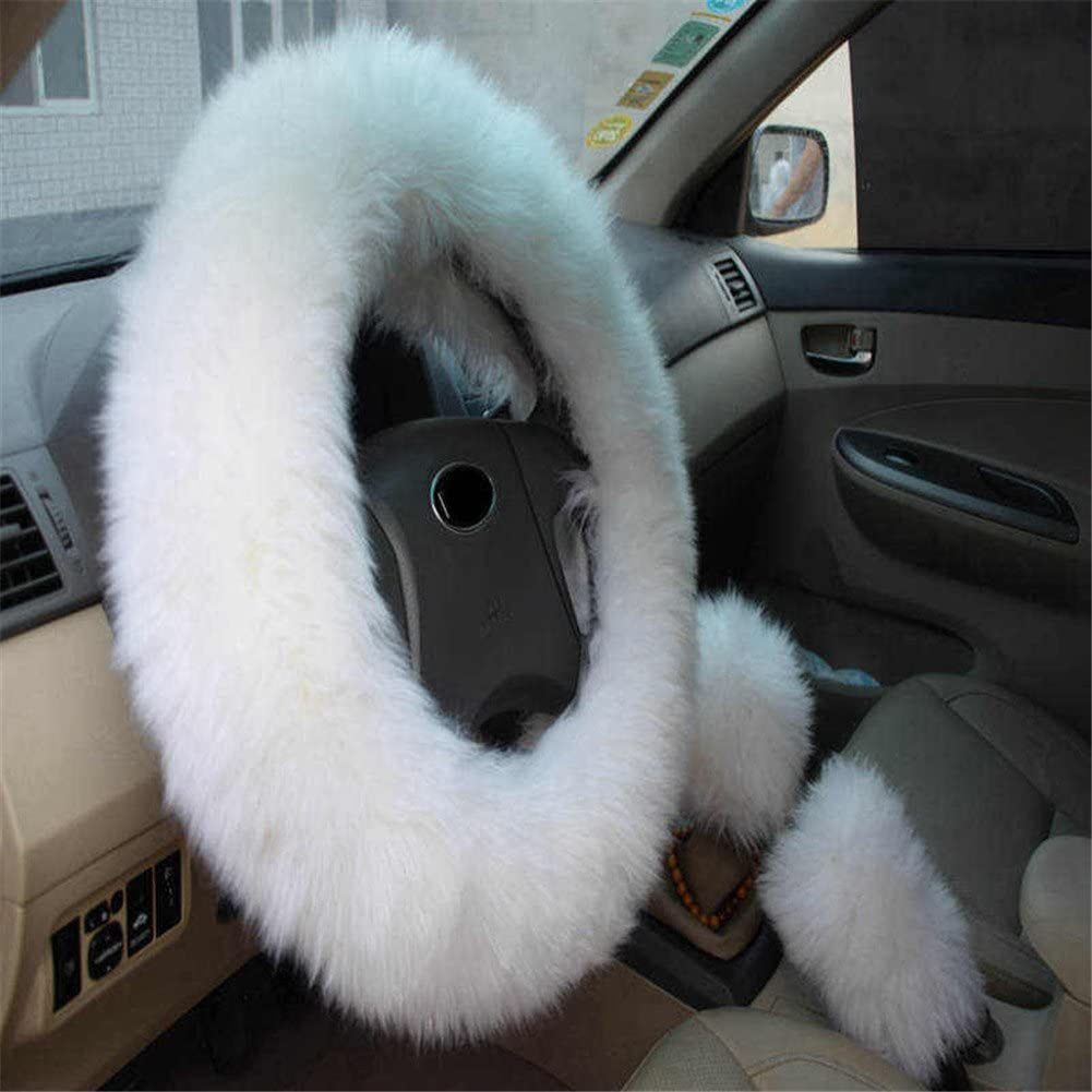 Mehoca Cover Set 3PCS,Long Furry Steering Wheel Cover Shifter Cover Parking Brake Cover,Pink
