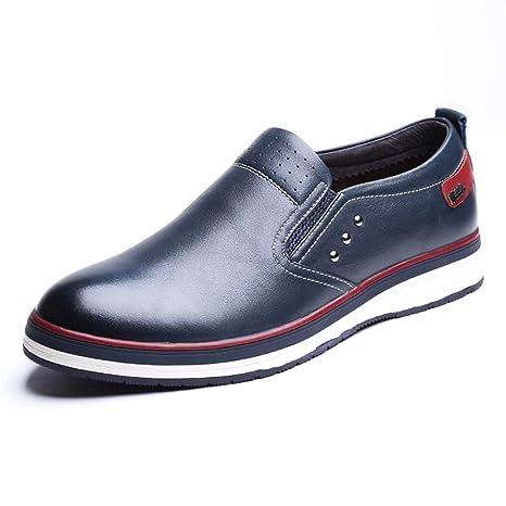 LXLA- Zapatos De Cuero Slip-on Casuales para Hombres, Mocasines De Cabeza Redonda