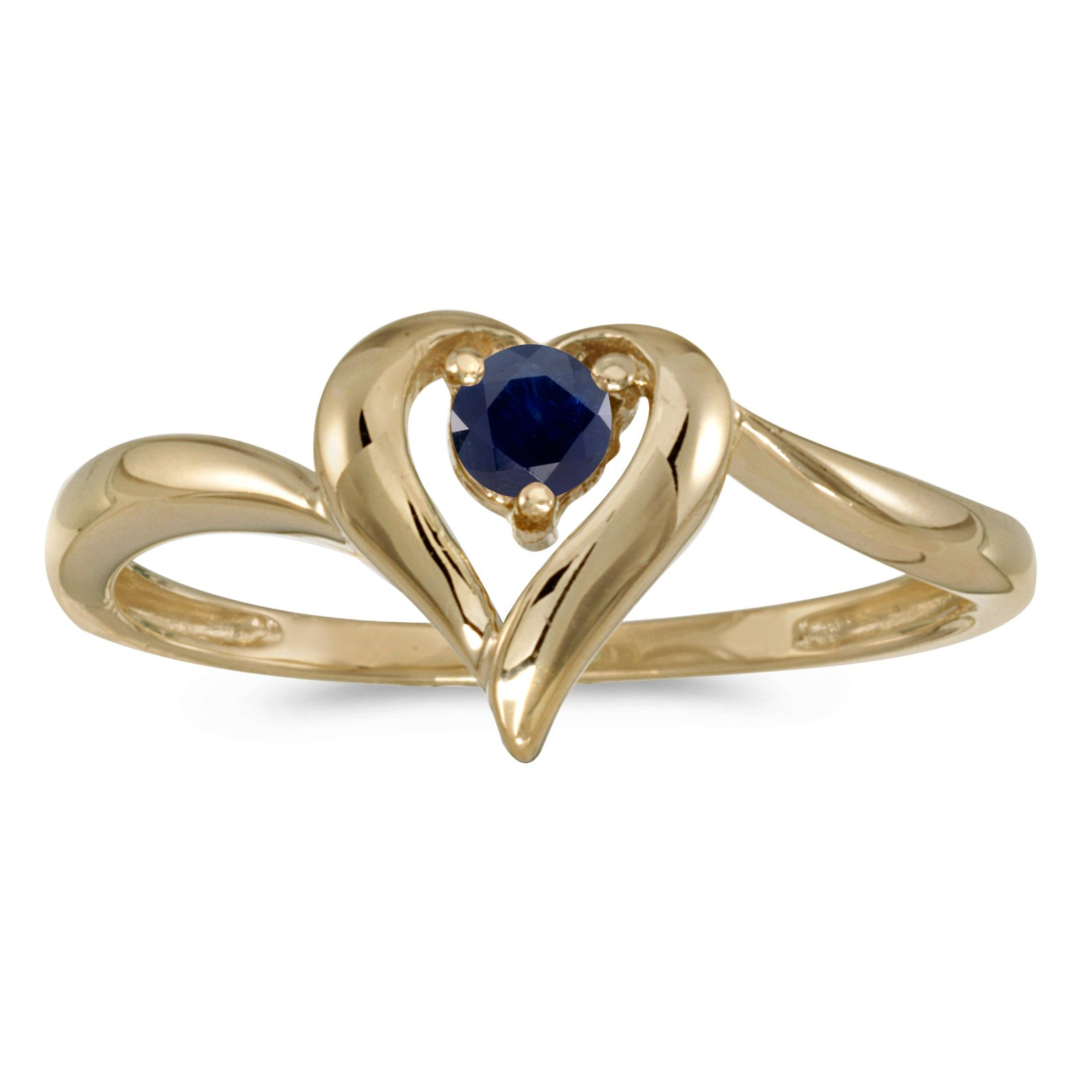 10k Yellow Gold Round Sapphire Heart Ring (Size 6.5)