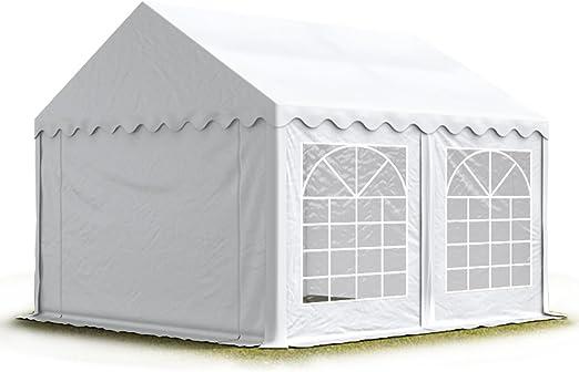 TOOLPORT Carpa para Fiestas Carpa de Fiesta 4x4 m Carpa de pabellón de jardín Aprox. 500g/m² Lona PVC en Blanco Impermeable: Amazon.es: Jardín