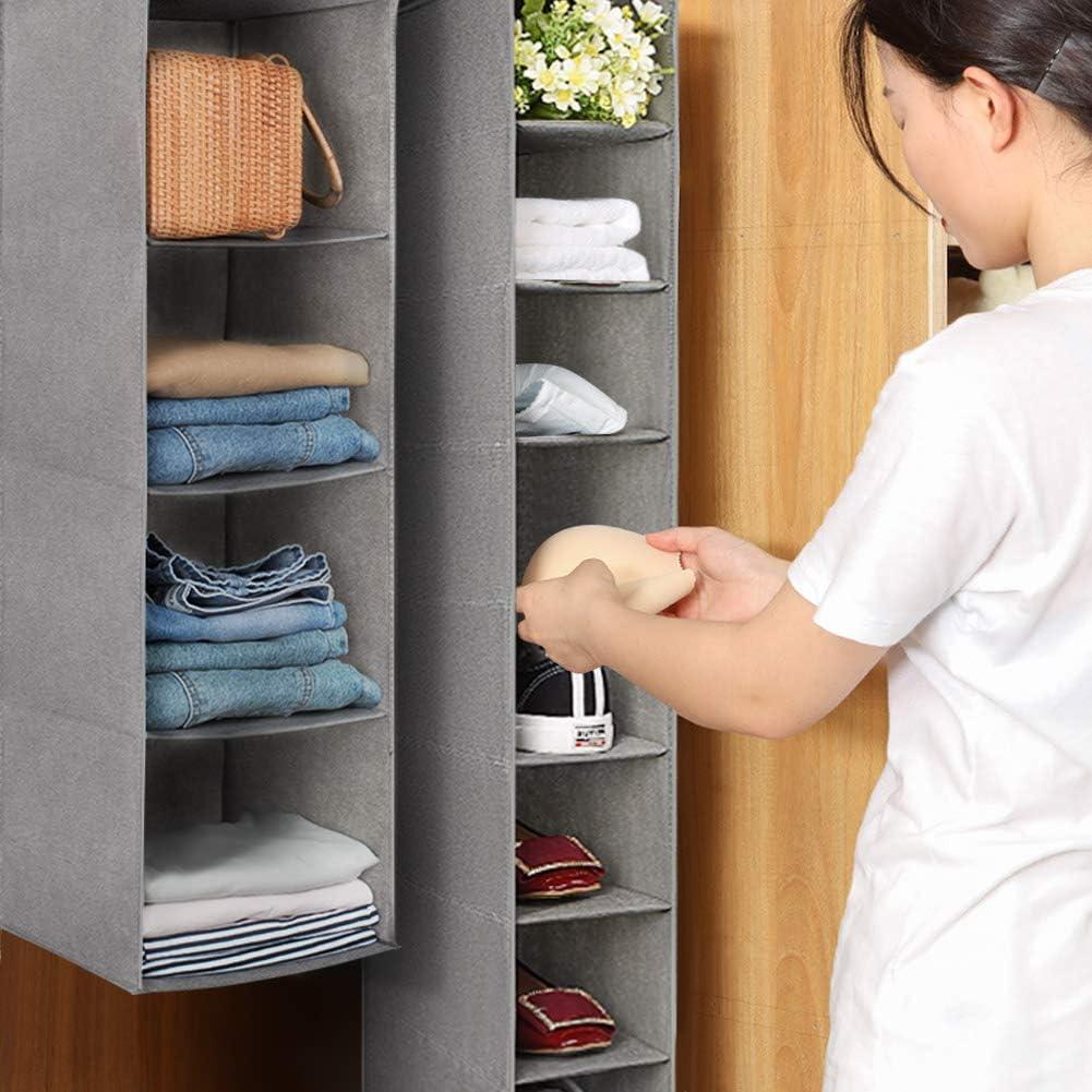 Clothes Toys and More 3 Shelf- 2 Pack Aoolife Closet Hanging Shelves Organizer,Linen Cloth,Light and Breathable Collapsible Hanging Closet Organizer for Sock Bra