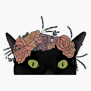 Leyland Designs Black Cat with Flower Crown Sticker Outdoor Rated Vinyl Sticker Decal for Windows, Bumpers, Laptops or Crafts 5""