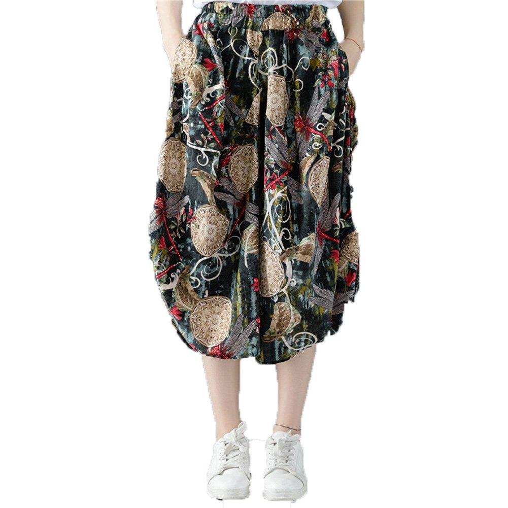 Dinier Girls 2018 Retro Floral Print Wide Leg Pants Casual Elastic Waist Cotton Linen Loose Low Crotch Culottes Trousers