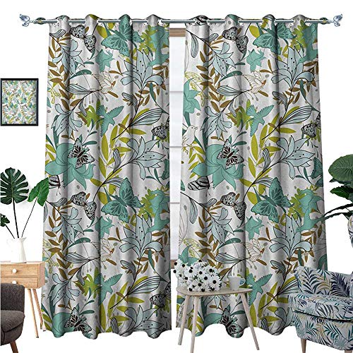 BlountDecor Floral Window Curtain Fabric Flying Birds Butterflies Floral Elements Art Wildflowers Nature Drapes for Living Room W120 x L96 Seafoam Yellow Green Caramel -