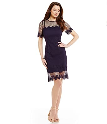 74281fe271c Image Unavailable. Image not available for. Color  Antonio Melani Milly  Crew Neck Short Sleeve Mesh Lace Dress ...