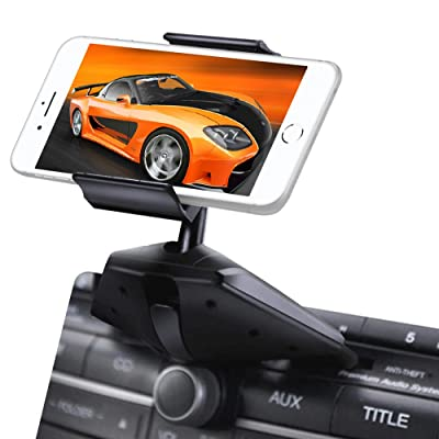 Upgraded IPOW One Button Installation CD Slot Phone Holder, IPOW Car Mount Cradle Stand for iPhone X 8 8P 7 7P SE 6s 6 6P 5S, Galaxy S8 S7 S6 S5 S4, Google, LG, Huawei, Nexus