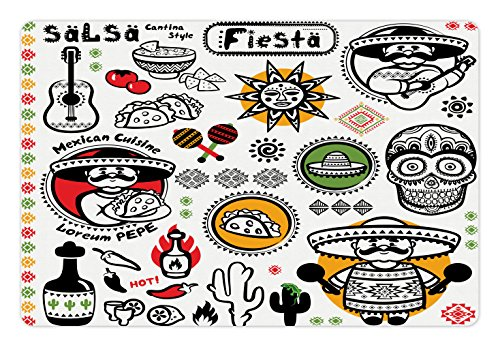 Latina Rug (Mexican Pet Mats for Food and Water by Lunarable, Latino Culture Dead Sugar and Skull Head Poncho Cuisine Salsa Fiesta Artwork Print, Rectangle Non-Slip Rubber Mat for Dogs and Cats, Multicolor)