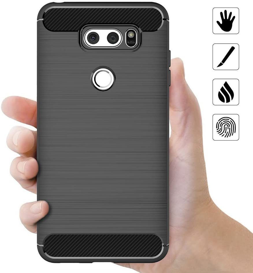 Black Soft Silicon Luxury Brushed with Texture Carbon Fiber Design Protection Cover MaiJin Case for LG V30 // V30 Plus 6 inch