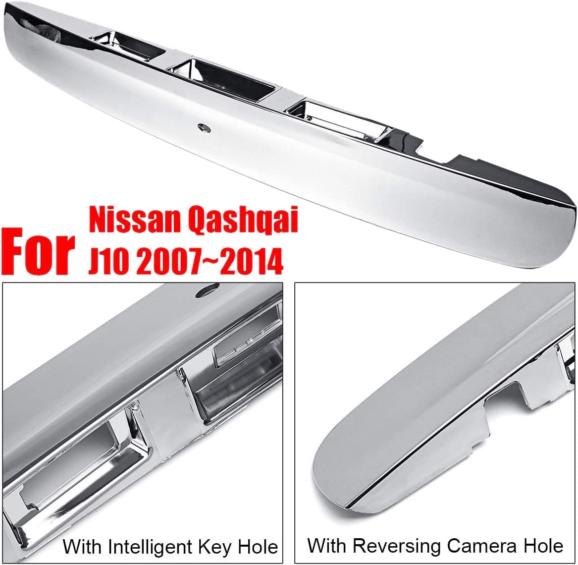 Domilay/Chrom Heckklappen Kofferraum Deckel Griff f/ür Nissan Qashqai J10 2007-2014 mit I-Key /& Kamera Loch
