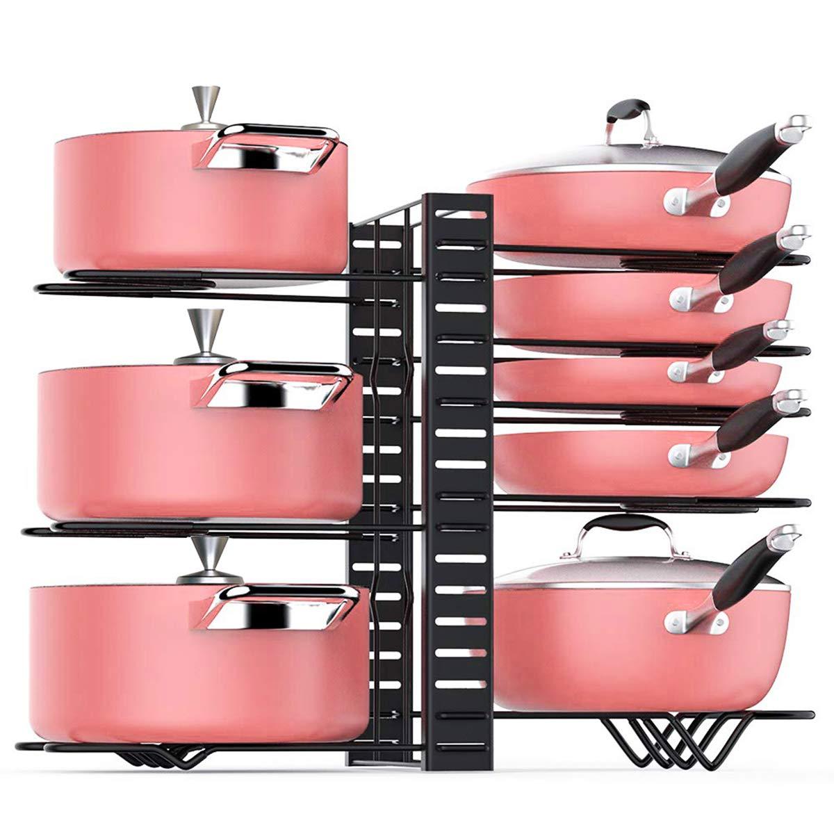 TOPNEW Pot Rack Organizer 3 DIY Methods Height Adjustable Cookware Organizer Kitchen Pan and Pot Lid Holder (Black)