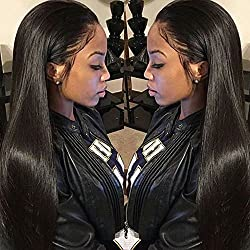 Dreambeauty 250% Density Lace Front Human Hair Wigs Silk Straight Brazilian Virgin Remy Human Hair Wigs Glueless Lace Front Wig for Women Natural Black Color (22 inch)