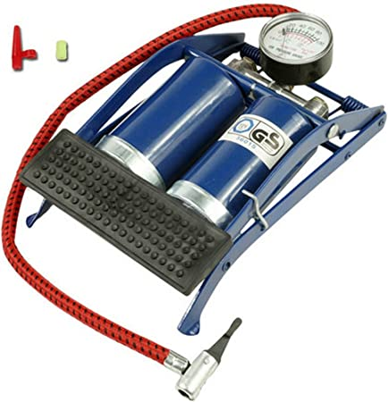 Double Heavy duty car foot pump tire tyre inflatable RUBBER NON SLIP twin barrel