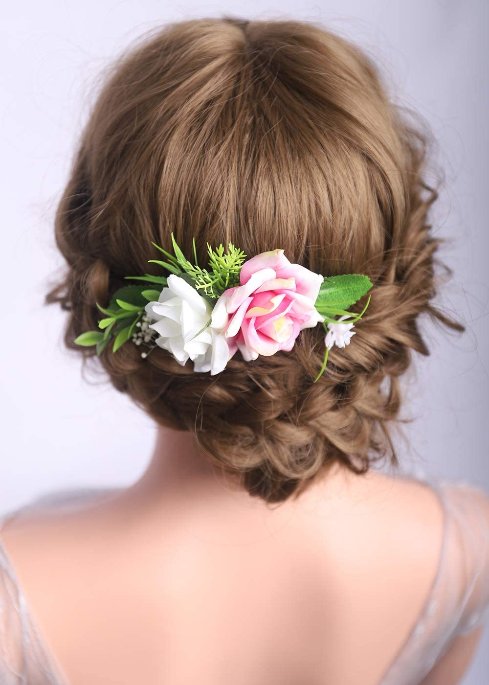 Succulents and Flowers Bridal Hair Comb Off White Green Pink and Grey Garden Wedding Bridesmaids Gift Floral Hair Piece Blush Pink Rose
