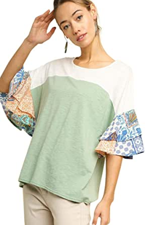 Umgee Women's Colorblock Paisley Layered Bell Sleeve Top
