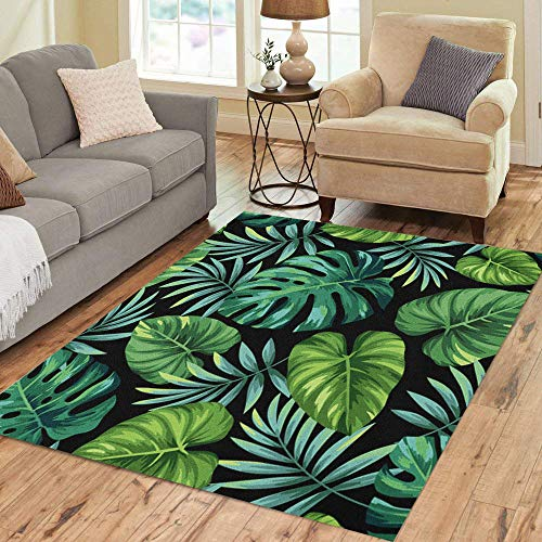 Semtomn Area Rug 3' X 5' Blue Pattern Tropical Exotic Palm Leaves Green Jungle Aloha Home Decor Collection Floor Rugs Carpet for Living Room Bedroom Dining Room
