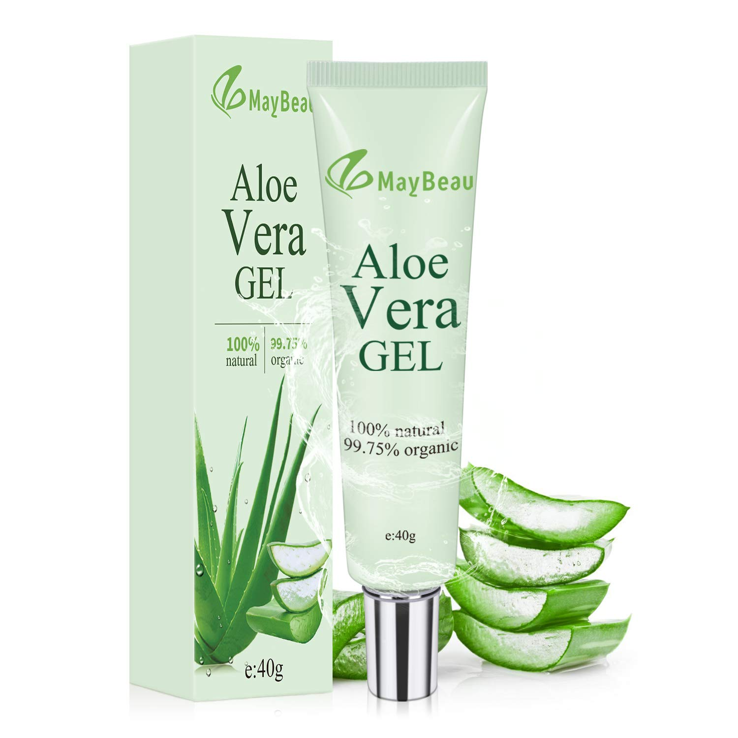 MayBeau Organic Aloe Vera Gel 1.4oz Acne Scar Treatment Portable Size Scar Cream for Face Moisturizing Sunburn Eczema Itching Burn BUYMYSIDE