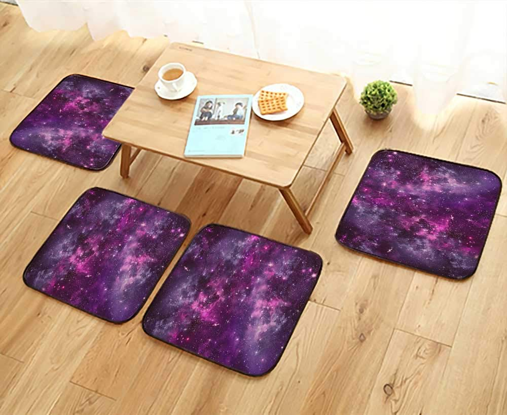Printsonne Luxurious Household Cushions Chairs Cloud Deep Dark in Outer Space with Star Clusters Galaxy Infinity Solar Sky Soft and Comfortable W31.5 x L31.5/4PCS Set