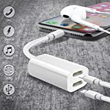 Splitter i-Phone, i-phoneSplitter, i-phoneAdapter, Double 2 in 1 Adapter, XMGHTU Adapter Splitter for i-phoneX 8 8Plus 7 7Plus (Compatible with iOS 10-11) Charging Audio Headset Headphone