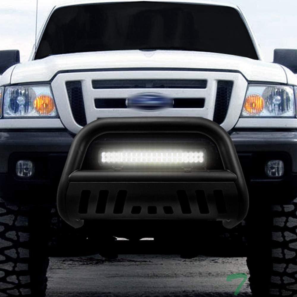Topline Autopart Matte Black Bull Bar Brush Push Bumper Grill Grille Guard With Skid Plate 120W CREE LED Fog Light For 98-11 Ford Ranger