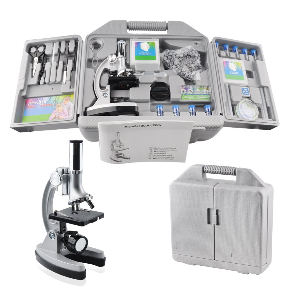 SOLOMARK Microscope Kit for Kids with All Accessory and Handy Storage Case,300x 600x 1200x Magnifications,Educational Science Microscope with Smartphone Adapter for Children and Beginners.
