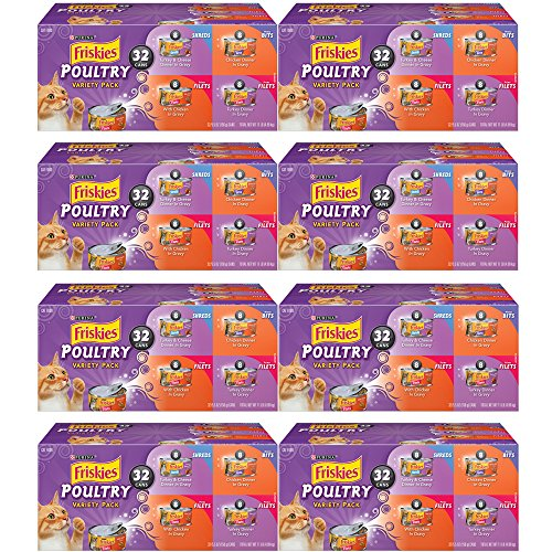 .Purina Friskies. Poultry Variety Pack Cat Food – (32) Box, 8-Pack