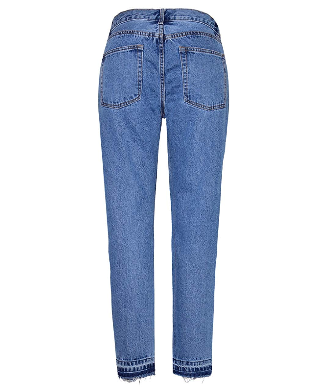 HitZoom Womens Classic High Rise Frayed Raw Hem Straight Fit Denim Jeans Pants
