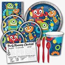 Party Robots Science Birthday Theme Party Supply Set for Girls - Serves 8 Guests