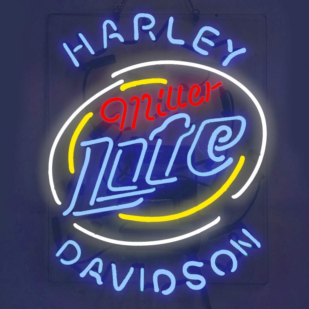 Miller Lite Harley Davidson Real Glass Beer Bar Pub Store Decor Neon Signs 19x15