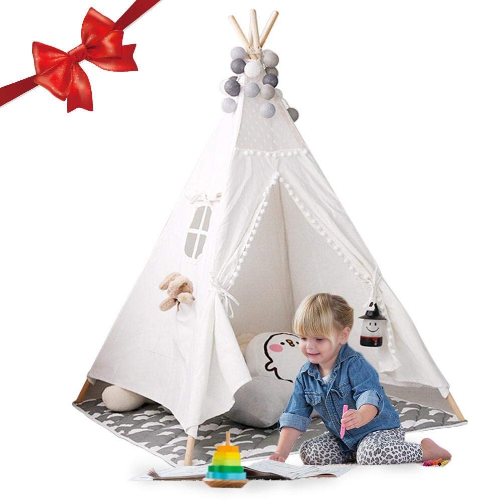 fineshelf Indoor Children's Tent Game House,White Wool Ball Decoration Baby's Climbing Tent Indoor Playroom (with Pom Poms)