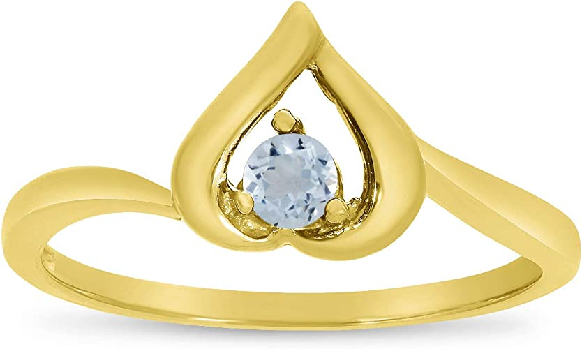 14k Yellow Gold Round Aquamarine And Diamond Heart Ring