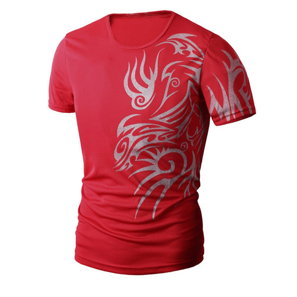 PASATO Men Summer Round Neck Tee Printing Men's Short-Sleeved T-Shirt Top Blouse(Red,M=US:S)