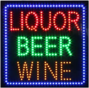 Liquor Store Open Sign for Business, Super Bright Electric Advertising Display Board for Liquor Store Wine Store Bar Business Shop Store Window Decor (24